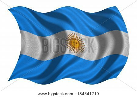 Argentinian national official flag. Argentine Republic patriotic symbol banner element background. Flag of Argentina with real detailed fabric texture wavy isolated on white 3D illustration
