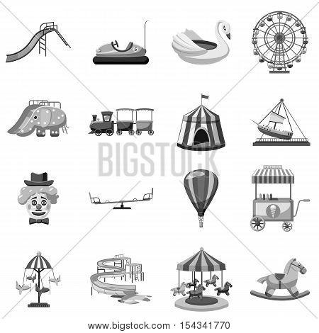 Amusement park icons set. Gray monochrome illustration of 16 amusement park vector icons for web