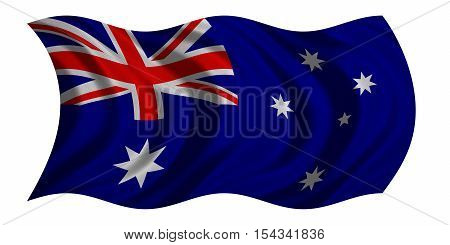 Australian national official flag. Patriotic symbol banner element background. Correct colors. Flag of Australia with real detailed fabric texture wavy isolated on white 3D illustration