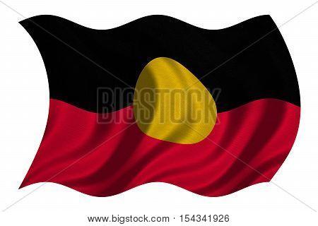 Australian Aboriginal official flag. Commonwealth of Australia patriotic symbol banner element background. Australian Aboriginal flag detailed fabric texture wavy isolated on white 3D illustration