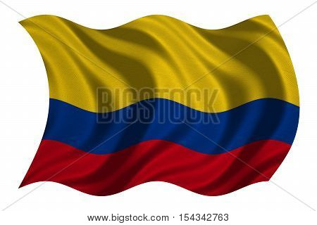 Colombian national official flag. Patriotic symbol banner element background. Correct colors. Flag of Colombia with real detailed fabric texture wavy isolated on white 3D illustration