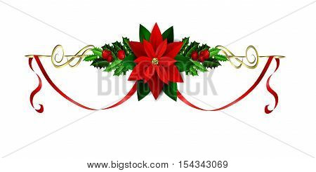 Christmas decoration with evergreen treess holly and berries and poinsettia and ribbon isolated