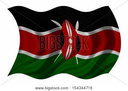 Kenyan national official flag. African patriotic symbol banner element background. Correct colors. Flag of Kenya with real detailed fabric texture wavy isolated on white 3D illustration
