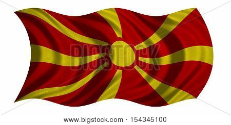 Macedonian national official flag. Patriotic symbol banner element background. Correct colors. Flag of Macedonia with real detailed fabric texture wavy isolated on white 3D illustration