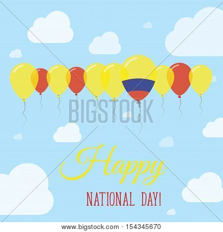 Colombia National Day Flat Patriotic Poster. Row Of Balloons In Colors Of The Colombian Flag. Happy