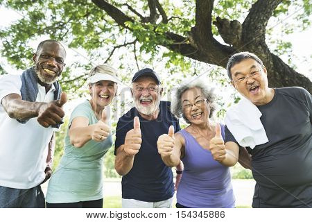 Senior Group Friends Exercise Relax Concept