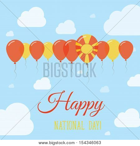 Macedonia, The Former Yugoslav Republic Of National Day Flat Patriotic Poster. Row Of Balloons In Co