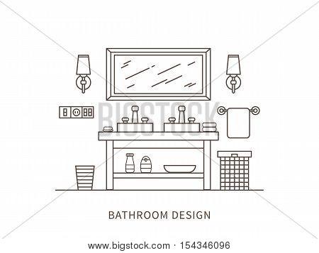 Linear flat interior design illustration of modern designer bathroom interior space with mirror shelf towel lamps washbasin. Outline vector graphic concept of bathroom interior design