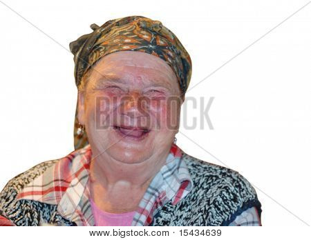 An old woman with red funny laughing face