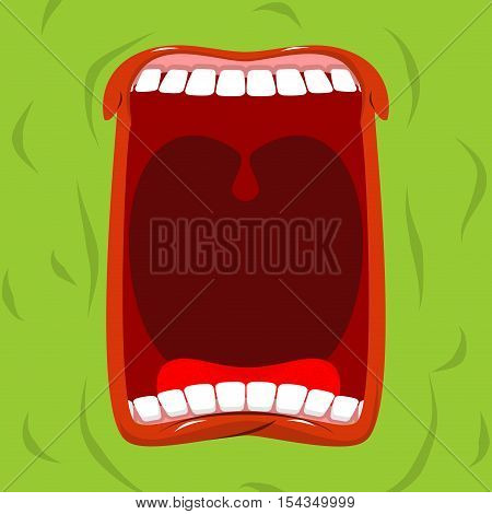 Green Monster With His Mouth Open. Scary Ghost Shouts. Horrible Wraith Frightening Screams.  Spook W
