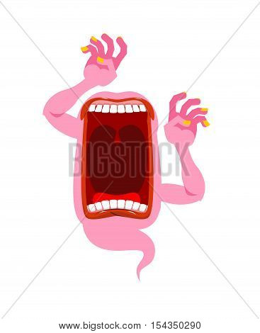 Pink Ghost. Scary Spook. Horrible Ghost Frightening Screams. Phasing Monster With An Open Mouth. Wil