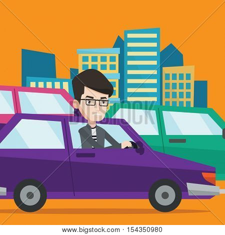 Angry caucasian man in the car stuck in a traffic jam. Irritated young man driving a car in a traffic jam. Agressive driver honking in traffic jam. Vector flat design illustration. Square layout.