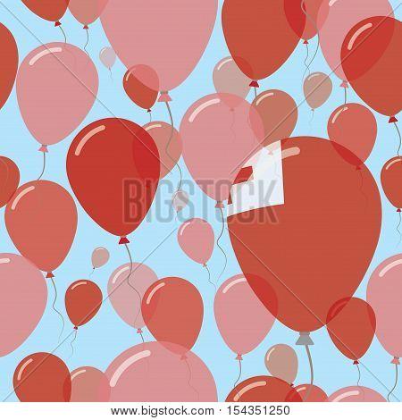 Tonga National Day Flat Seamless Pattern. Flying Celebration Balloons In Colors Of Tongan Flag. Happ