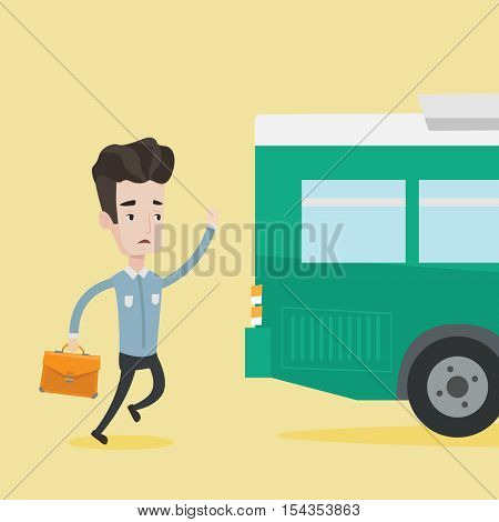 Young businessman running to catch bus. Caucasian man running for a outgoing bus. Man with briefcase chasing a bus. Latecomer man running to reach a bus. Vector flat design illustration. Square layout