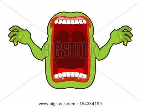 Angry Hungry Spirit. Scary Ghost Shouts. Horrible Wraith Frightening Screams. Green Monster With His