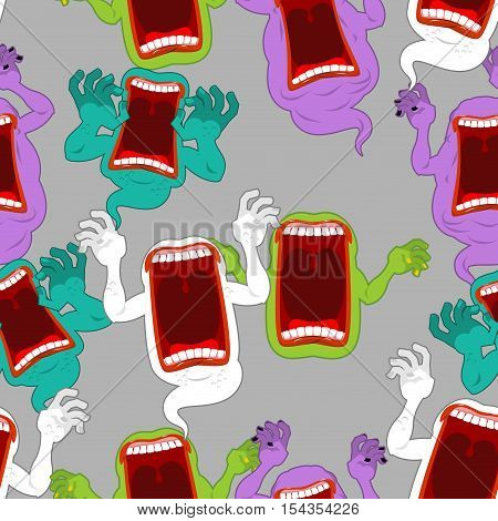 Terrible Howling Wraith Background. Ghost Seamless Pattern. Monster Scares Ornament. Spook With Open