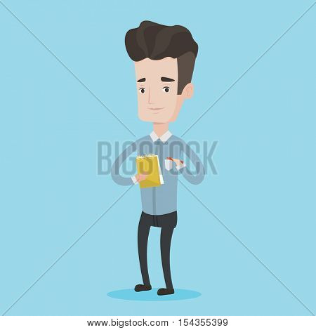Young journalist writing in notebook with pencil. Smiling journalist writing notes with pencil. Caucasian male journalist writing notes on the notepad. Vector flat design illustration. Square layout.