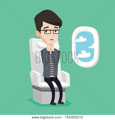 Young caucasian man shocked by plane flight in a turbulent area. Airplane passenger frightened by flight. Terrified passenger sitting in airplane seat. Vector flat design illustration. Square layout.