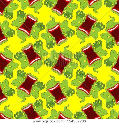 Spooky Seamless Pattern. Terrible Howling Wraith Background. Monster Scares Ornament. Ghost With Ope