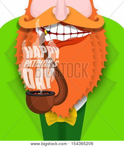 Leprechaun Smokes Pipe. Patricks Day. Smoking Set Brier And Smoke, Embers. Red Beard. Open Your Mout