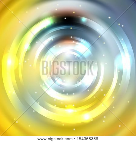 Abstract Circle Background, Vector Design. Glowing Spiral. The Energy Flow Tunnel. Yellow, Gray Colo