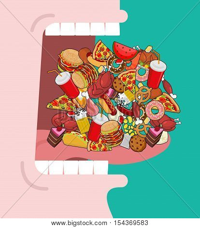 Widely Open Mouth Lot Of Food. Absorption Of Feed. Eat Many Of Meal. Very Hungry. Pizza And Tacos. F