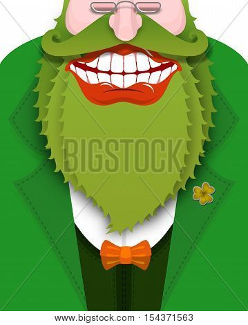 Cheerful Leprechaun With Green Beard. Good Gnome With Big Smile. Old Coat With Bow Tie. Illustration