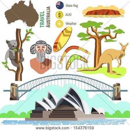 Set of Australia culture symbols. Collection icons: kangaroo and koala, boomerang and surf, aborigine and landscape, bridge and Sydney Opera House. Vector australian travel and tourism illustrations.