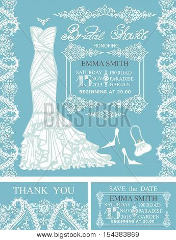 Bridal shower invitation set.Bridal wedding dress, pisley lace pattern, borders, frames, lettering title , retro design.Winter season save the date card, thank you card.Holiday Vector, fashion illustration