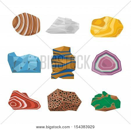 Collection set of semi precious gemstones vector stones and mineral stone isolated on white background.