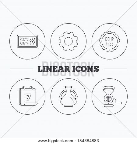 Meat grinder, vase and heat-resistant icons. DEHP free linear sign. Flat cogwheel and calendar symbols. Linear icons in circle buttons. Vector