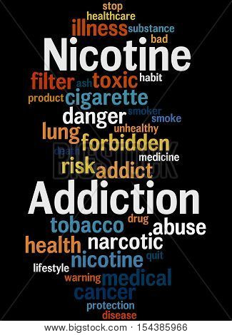 Nicotine Addiction, Word Cloud Concept 4