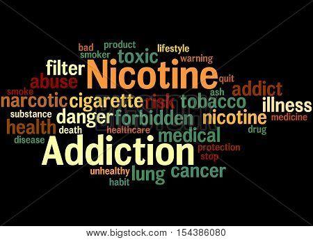 Nicotine Addiction, Word Cloud Concept 5