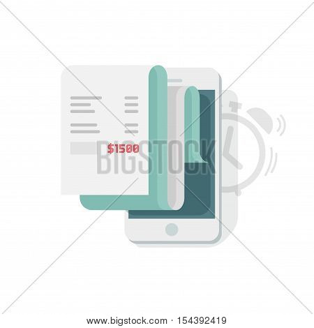 Financial data report scheduling on mobile phone vector illustration, smartphone statistics data analytics planner, idea of recurring payment receipt, scheduler information message isolated