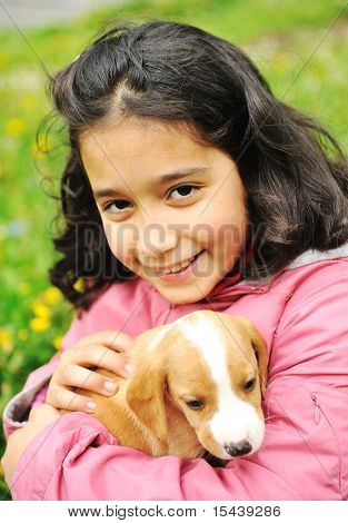 Menina e seu cachorro