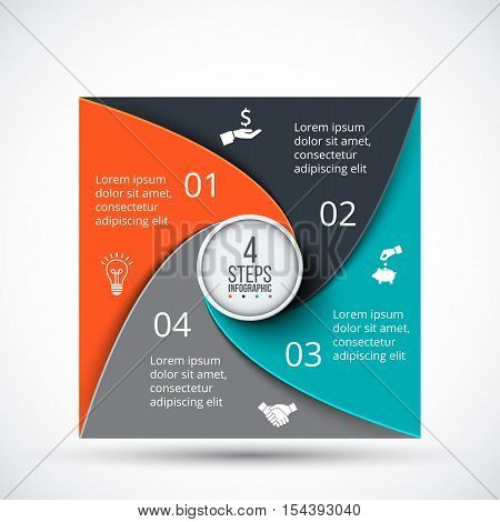 Vector square infographic. Template for cycle diagram, graph, presentation and chart. Business concept with 4 options, parts, steps or processes. Data visualization.