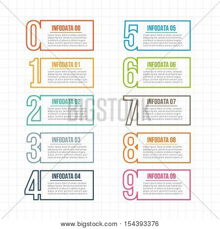 Thin line flat elements for infographic. Template for diagram, graph, presentation and chart. Business concept with 3, 4, 5, 6, 7, 8, 9 and 10 options, parts, steps or processes.