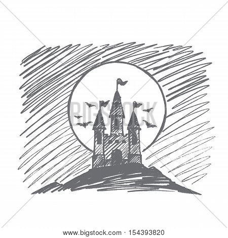 Vector hand drawn Halloween concept sketch. Halloween count Dracula castle on hill at night, flying bats and big full moon at background