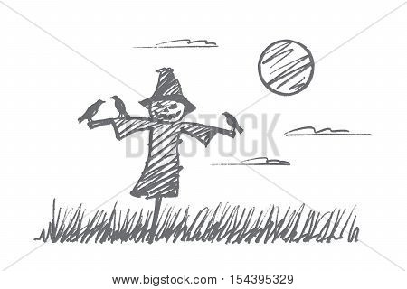 Vector hand drawn Halloween concept sketch. Scarecrow made of sticks and pumpkin with scary face and little crows sitting on its hands during full moon at night