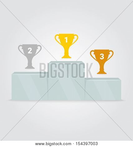 Sport winners podium. Trophy on sports podium. Gold, Silver and Bronze Champion Cup on prize podium. First place award. Vector illustration in flat design, infographic elements.