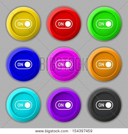 Start Icon Sign. Symbol On Nine Round Colourful Buttons. Vector