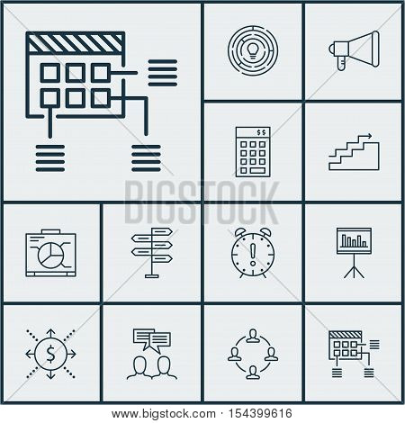 Set Of Project Management Icons On Discussion, Collaboration And Money Topics. Editable Vector Illus