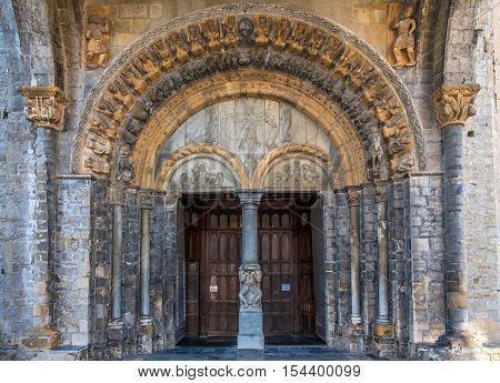 Portal of Cathedral Saint Maria in Oloron - France