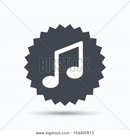 Music icon. Musical note sign. Melody symbol. Gray star button with flat web icon. Vector