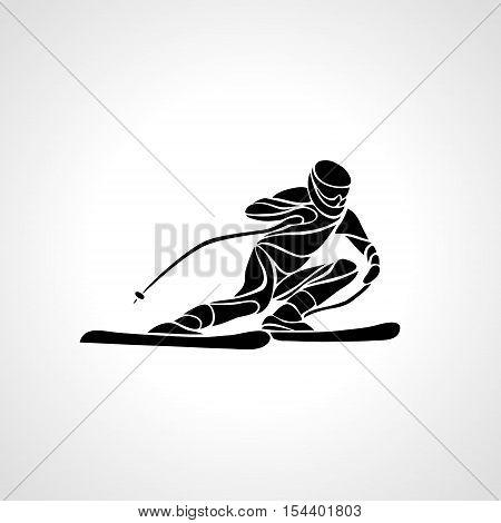 Ski downhill. Creative silhouette of the skier. Giant Slalom Ski Racer. Vector illustration