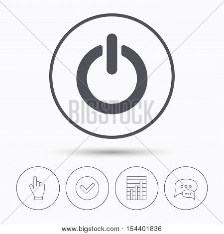 On, off power icon. Energy switch symbol. Chat speech bubbles. Check tick, report chart and hand click. Linear icons. Vector