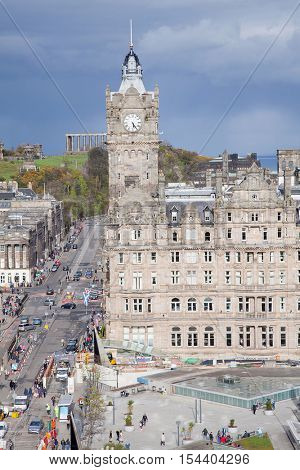 Edinburgh Skylines building and Calton Hill Scotland UK