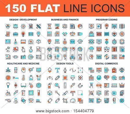 Vector set of 150 flat line web icons on following themes - design and development, business and finance, program coding, healthcare and medicine, design tools, digital commerce
