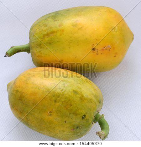 Papaya On White Background, Yellow Fruit