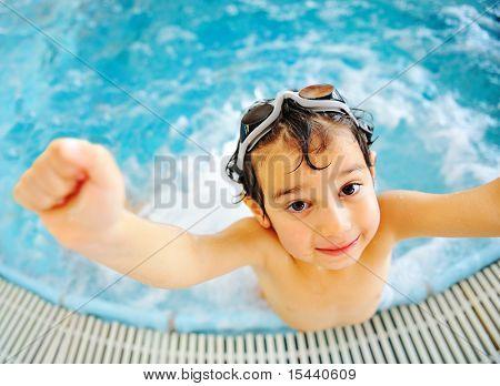 Happy kid in pool